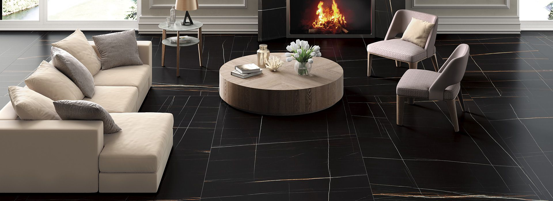 Sahara Noir Marmi Black Marble Effect Porcelain Tiles